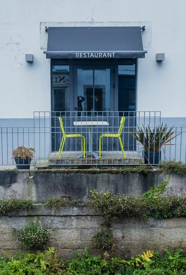 Restaurant Pont-Aven, une commune dans le département de Finistere de Brittany Bretagne photos stock