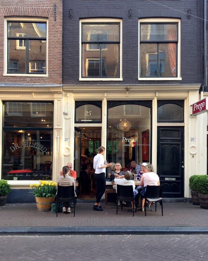 Restaurant Prego in Nine streets district of Amesterdam. AMSTERDAM, NETHERLANDS - MAY 8, 2016: Restaurant Prego in Nine streets district of Amesterdam with royalty free stock photo