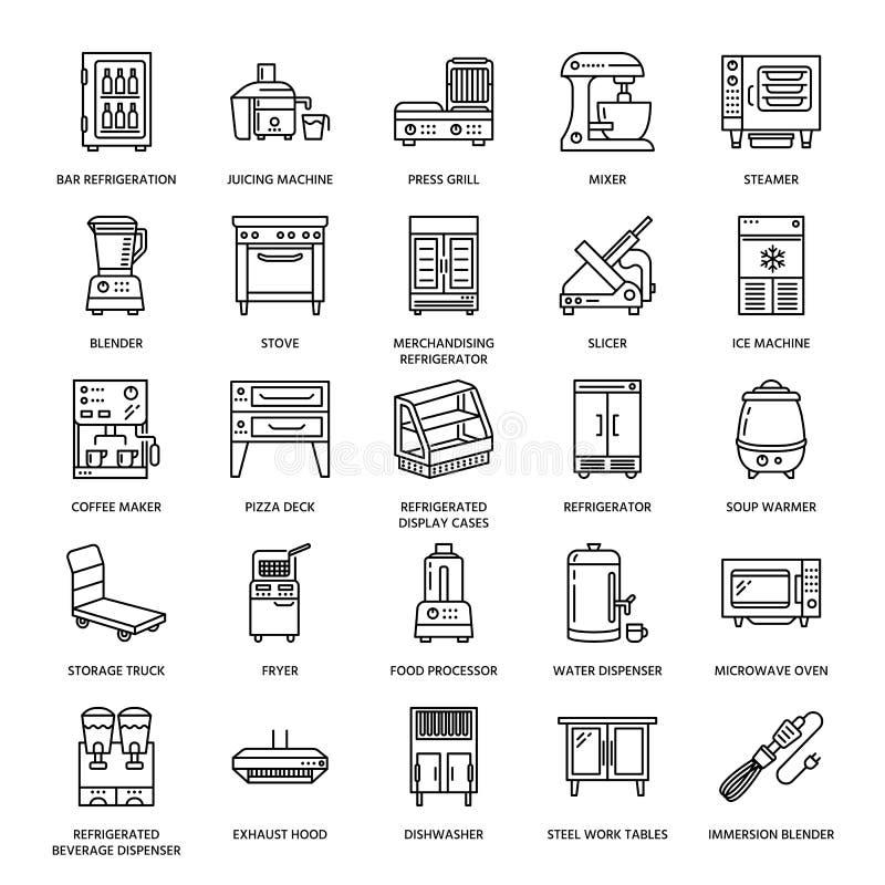 Restaurant professional equipment line icons. Kitchen tools, mixer, blender, fryer, food processor, refrigerator vector illustration
