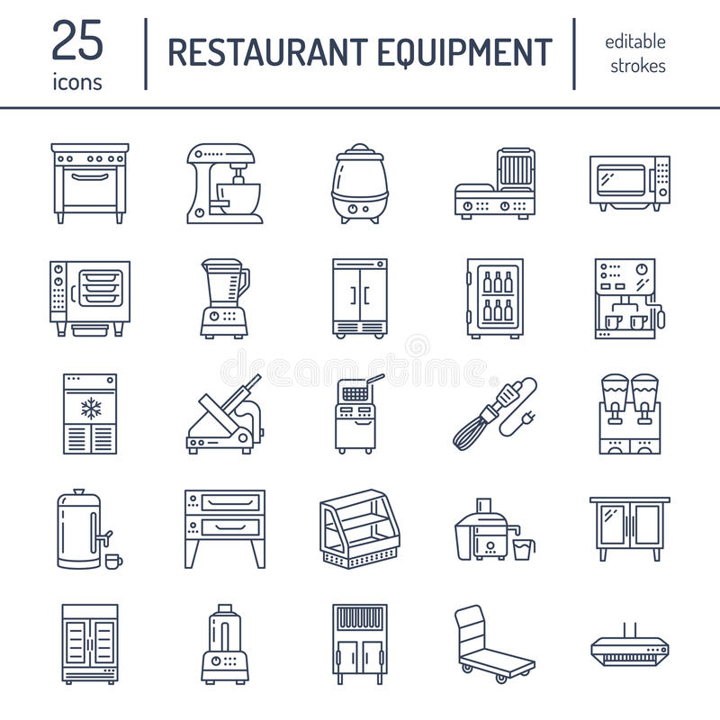Restaurant professional equipment line icons. Kitchen tools, mixer, blender, fryer, food processor, refrigerator. Steamer, microwave oven. Thin linear signs royalty free illustration