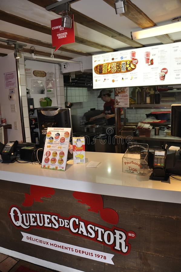 Quebec City, 28th June: Restaurant Queues de Castor from Boulevard Champlain of Quebec City in Canada royalty free stock photo