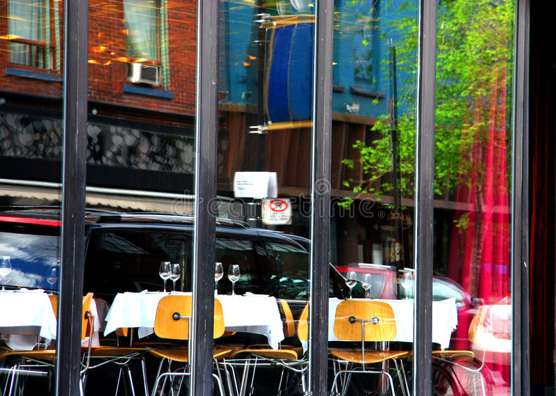 Restaurant reflection (blur) royalty free stock photos