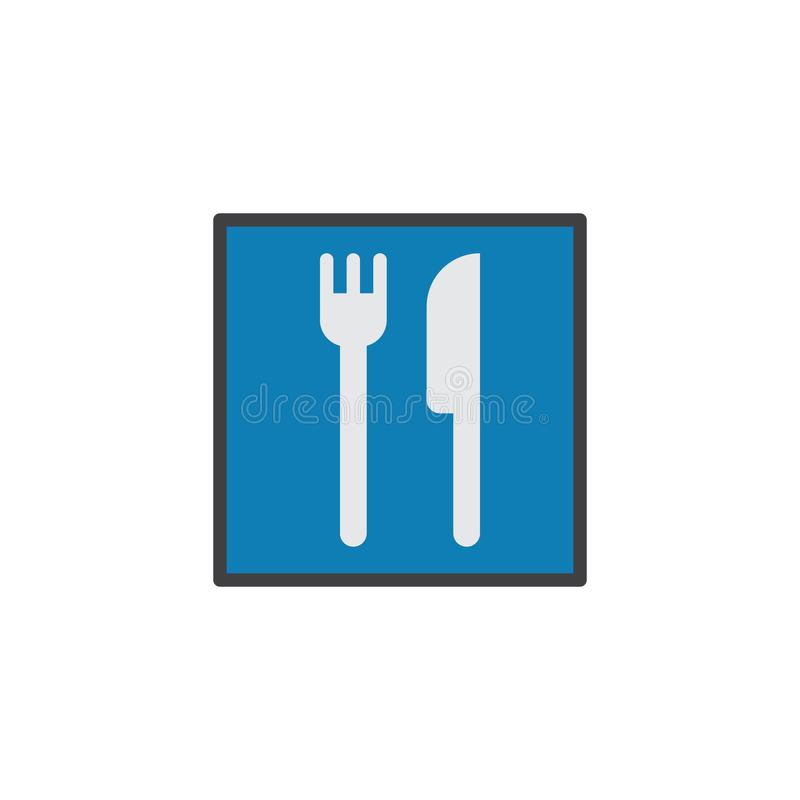 Restaurant road sign flat icon. Vector sign, colorful pictogram isolated on white. Knife and fork symbol, logo illustration. Flat style design vector illustration