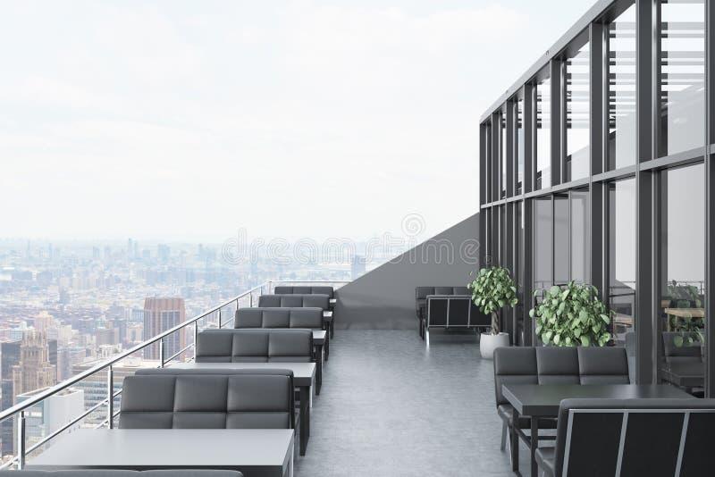 Restaurant on the roof, black sofas, cityscape royalty free illustration