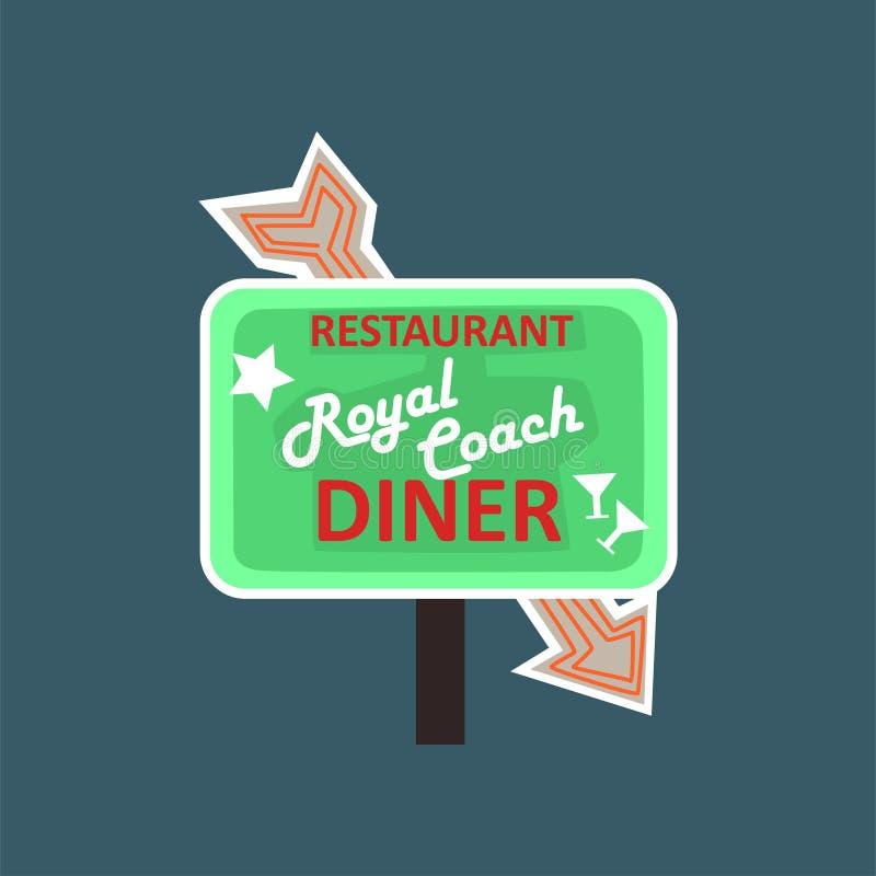 Restaurant royal d'entraîneur, rétro enseigne de rue de dîner, illustration de vecteur de bannière de vintage illustration stock