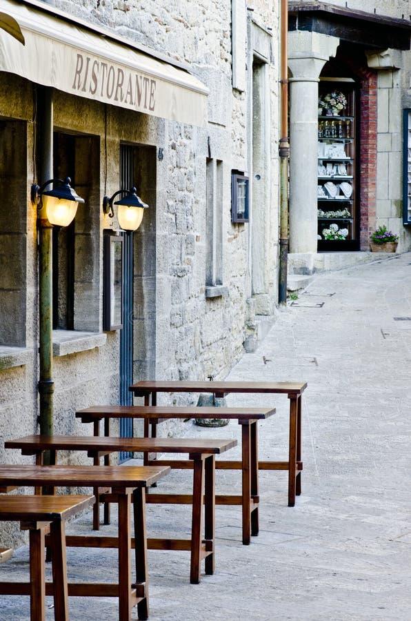 Restaurant in San Marino royalty-vrije stock afbeeldingen