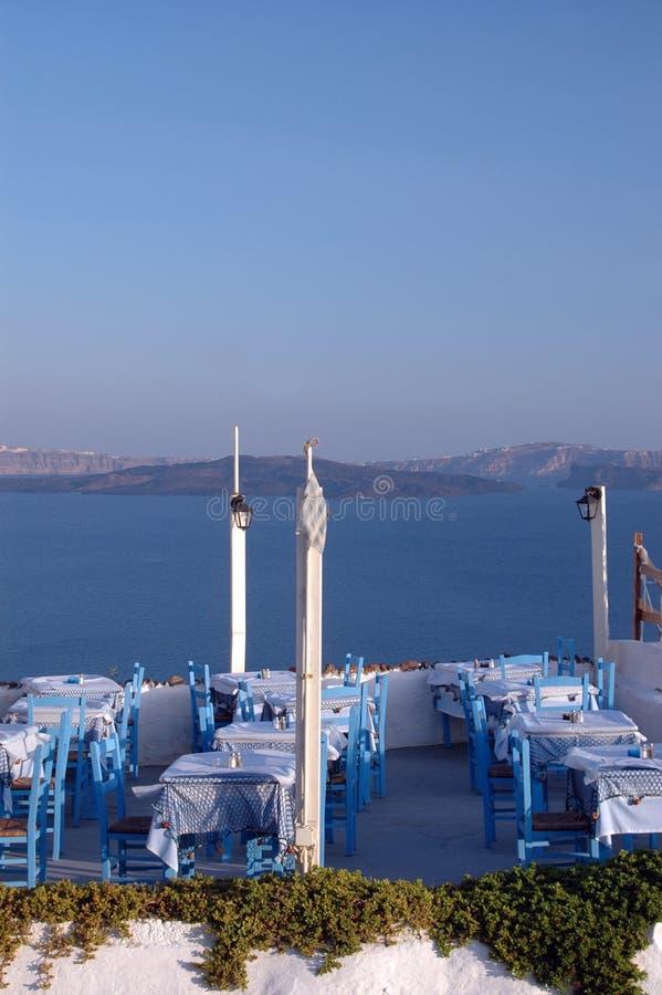 Download Restaurant Setting Oia Town Santorini Greece Royalty Free Stock Image - Image: 1221466