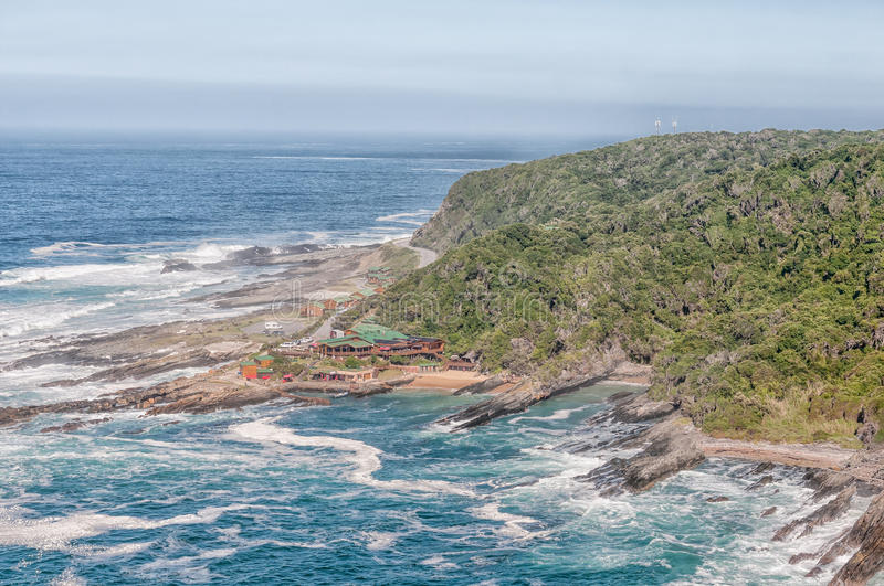 Restaurant, shop and chalets at Storms River Mouth. STORMS RIVER MOUTH, SOUTH AFRICA - FEBRUARY 29, 2016: The restaurant, shop and chalets at Storms River Mouth royalty free stock images