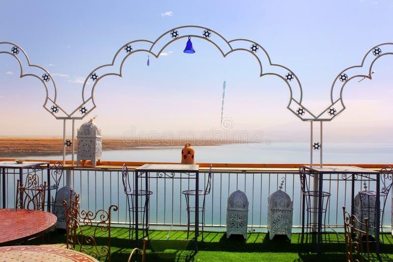 Restaurant on the shores of the Dead Sea, Beach Biankini, Israel stock photo