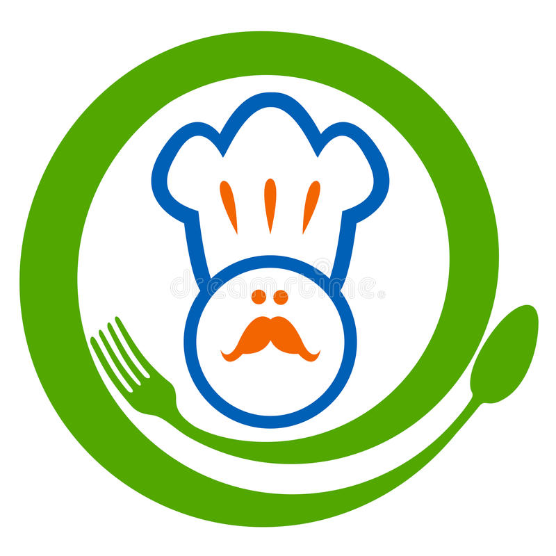Restaurant sign. Illustration of cartoon chef with spoon and fork design stock illustration