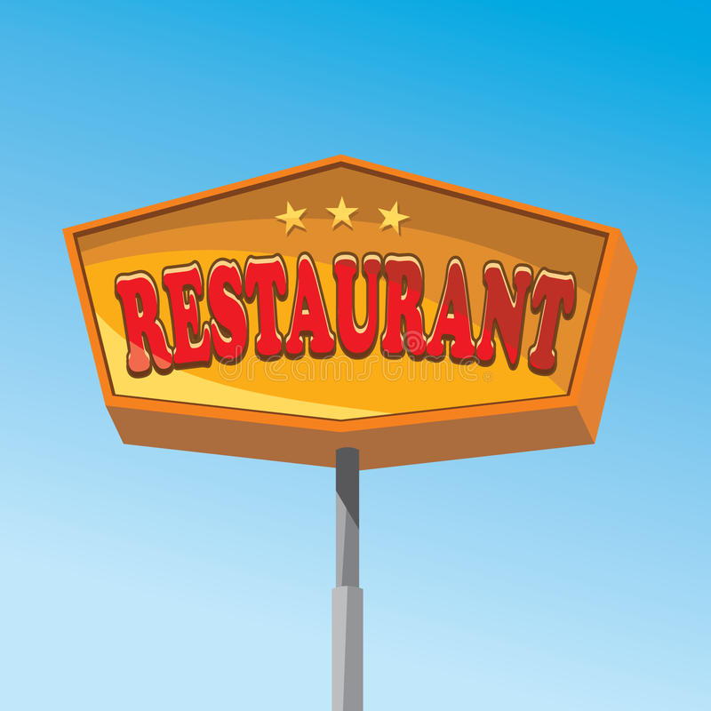 Restaurant sign. Big restaurant sign with red letters and stars vector illustration