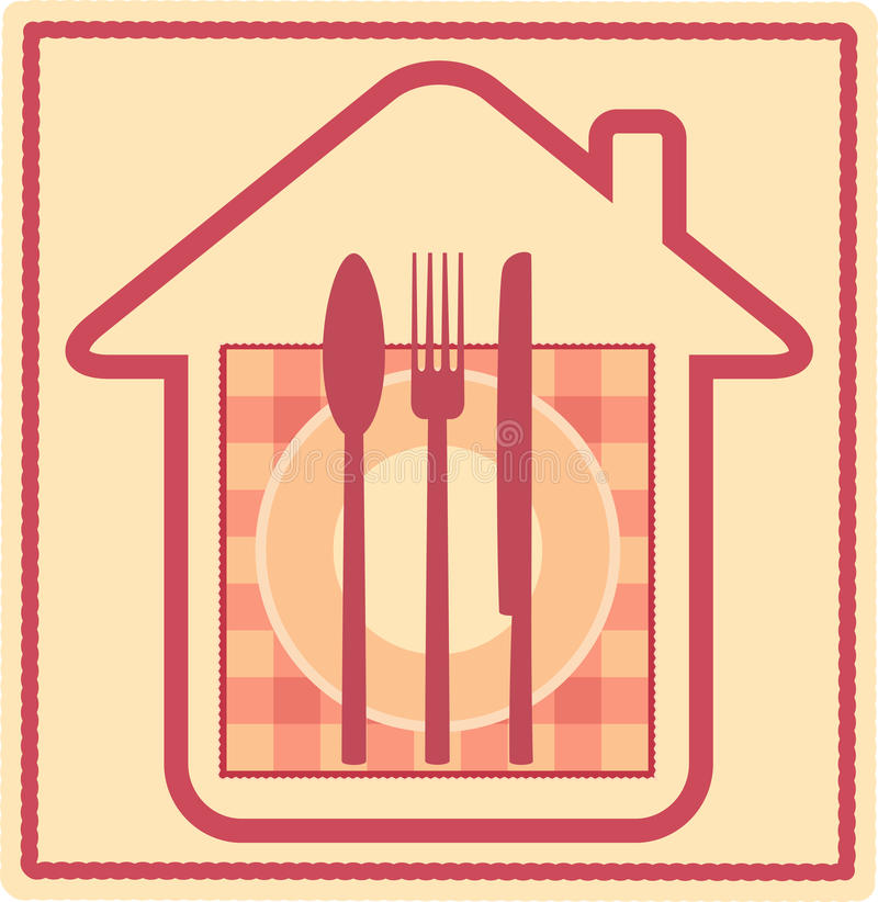Download Restaurant Sign With House Silhouette And Utensil Stock Image - Image: 23016481