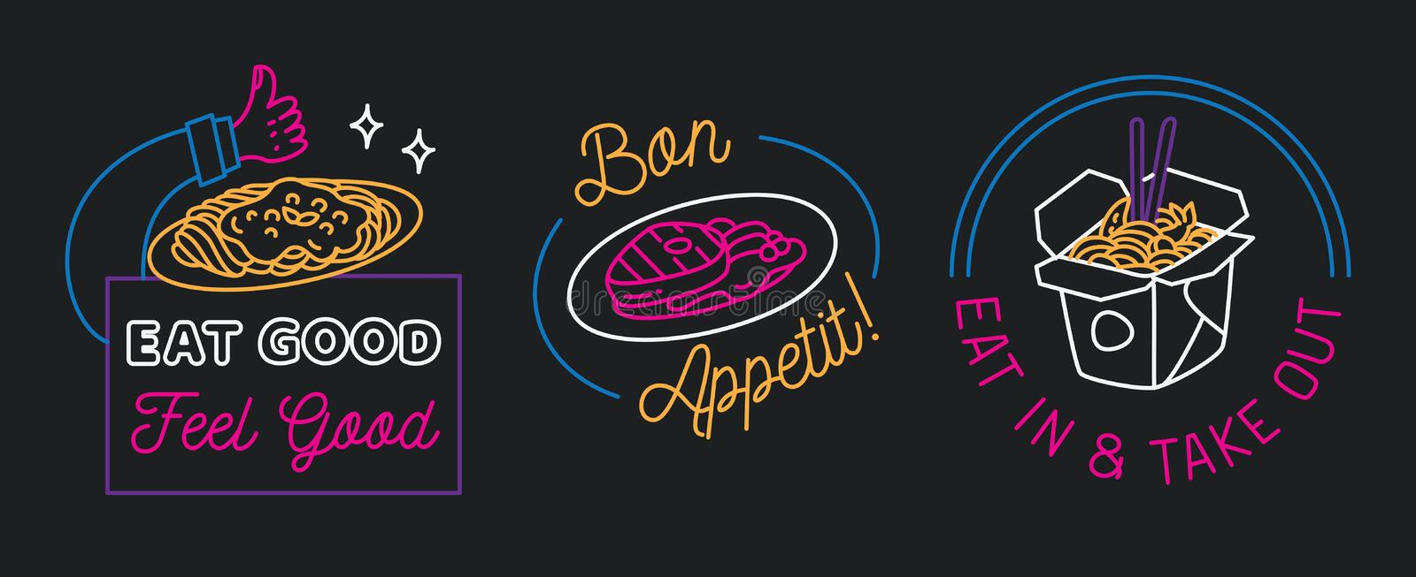 Restaurant sign in line style vector. Can be use as neon sign, poster etx royalty free illustration