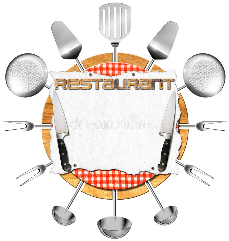 Restaurant Kitchen Utensils restaurant signboard with kitchen utensils stock illustration