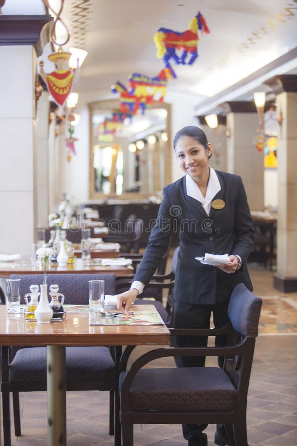 Restaurant with smile steward royalty free stock photo