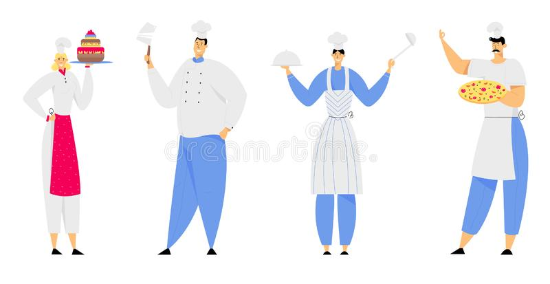 Restaurant Staff Characters in Uniform Demonstrating Menu, Cafe, Pizzeria, Bakery Shop, Hospitality. Young Man and Woman Chef in Toque and Apron Holding Pizza vector illustration