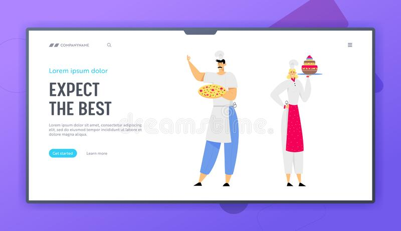 Restaurant Staff Demonstrating Menu Website Landing Page, Chef Holding Pizza, Woman Sous Chef with Cake, Serve Guests. In Cafe, Pizzeria, Bakery Shop. Web Page royalty free illustration