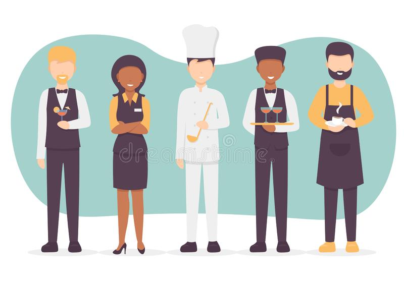 Restaurant staff team set characters. Restaurant team set. Chef cook, manager, waiter, bartender, barista characters. Catering professionals team personages vector illustration