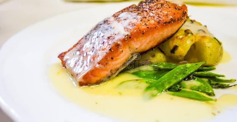 Restaurant Style Salmon Dinner stock images
