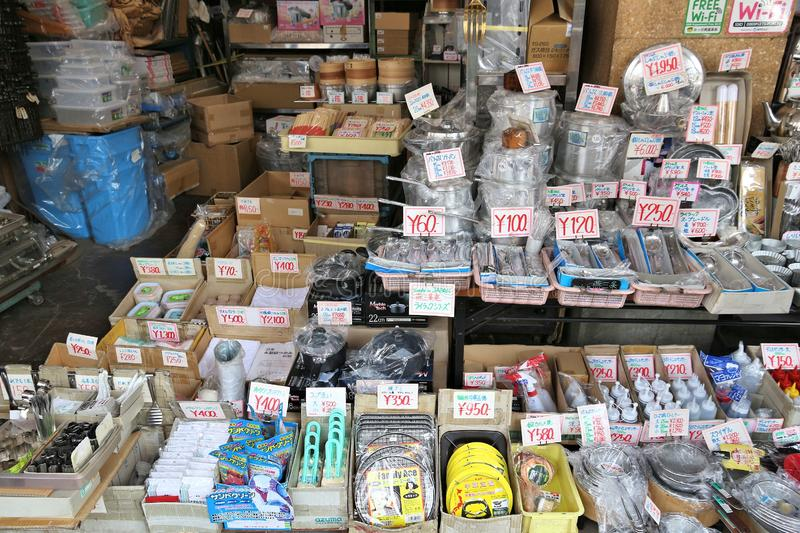 Restaurant supplies store. TOKYO, JAPAN - DECEMBER 4, 2016: Specialist cooking supplies store in Kappabashi area of Asakusa in Tokyo. Kappabashi Street is known stock photo