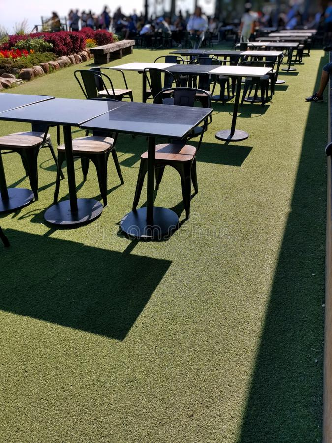 Coffee Terrace With Tables And Chairs Paris Stock Photo