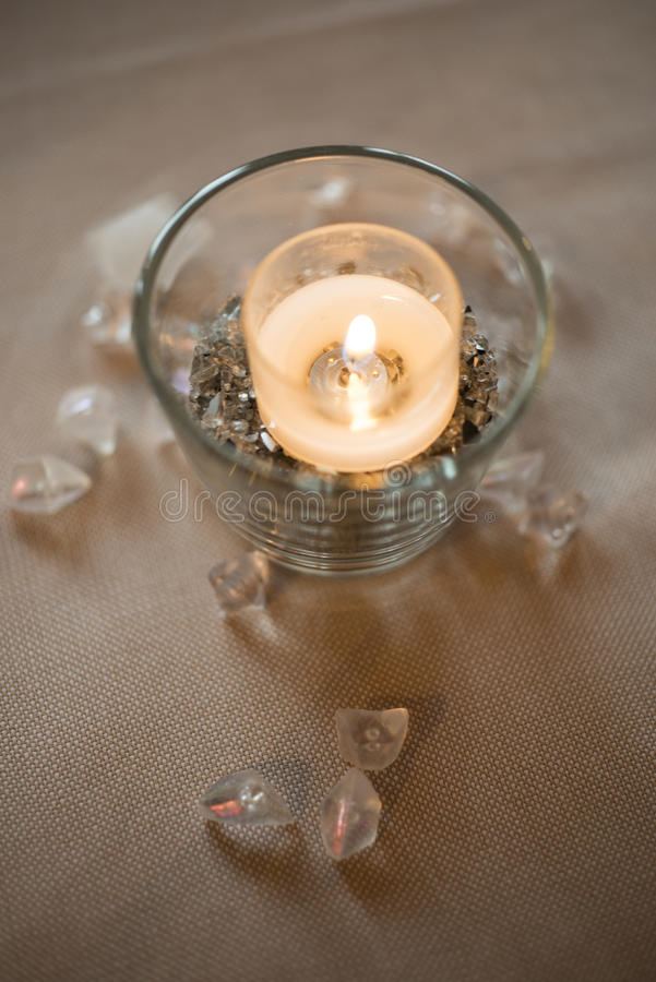 Restaurant table decoration. Decoration for elegant resturant table, candle and cristals stock photography