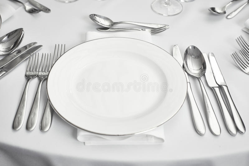 Restaurant table setout stock image