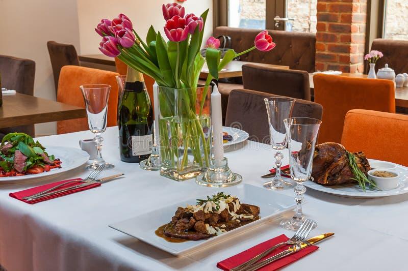 Restaurant table setting. stock image