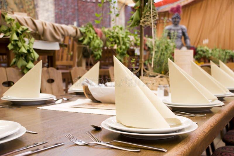 Restaurant table spread stock image