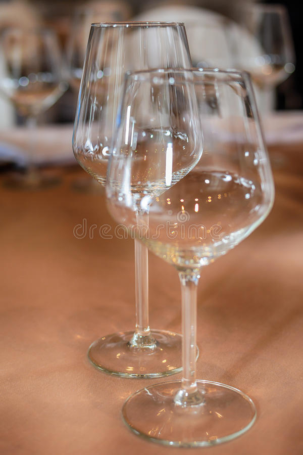 Restaurant table with wine glasses.  stock photos