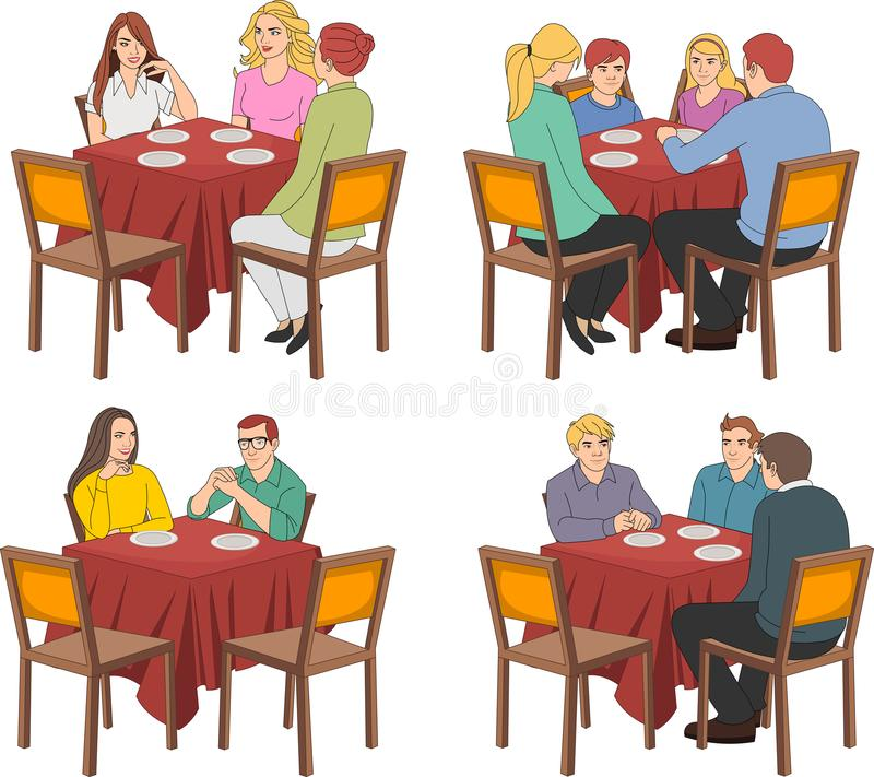 Restaurant tables with people. Talking royalty free illustration