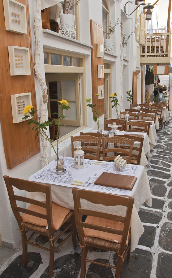 Download Restaurant With Tables On The Streets - Greece Stock Images - Image: 11176774