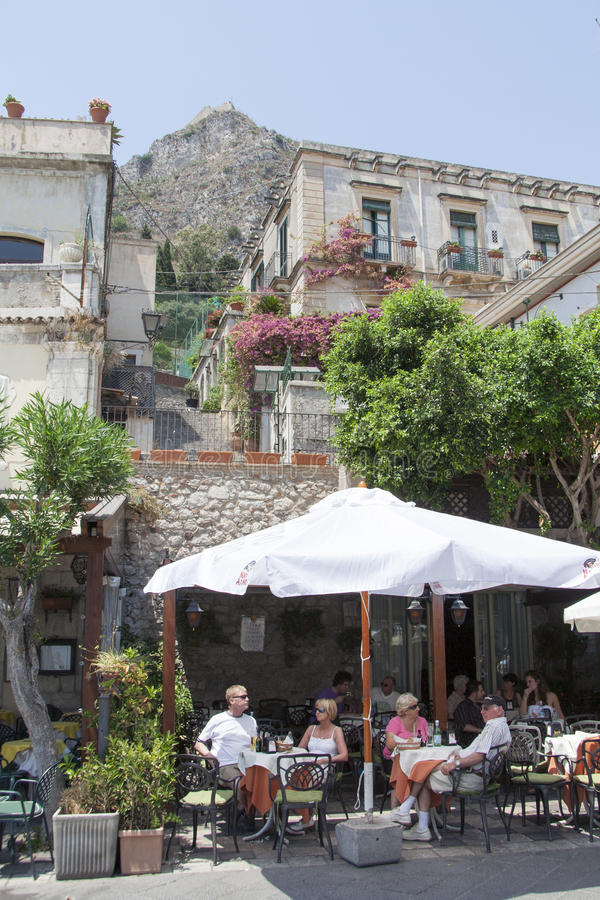 Restaurant in Taormina, Sicily royalty free stock images