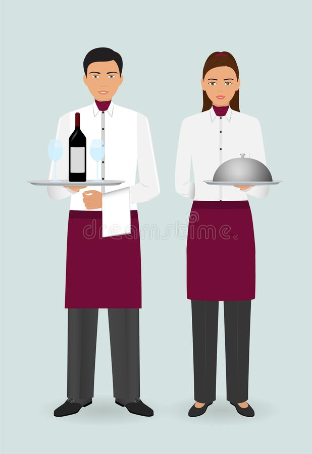 Restaurant team concept. Couple of waiter and waitress with dishes and in uniform stand together. royalty free illustration