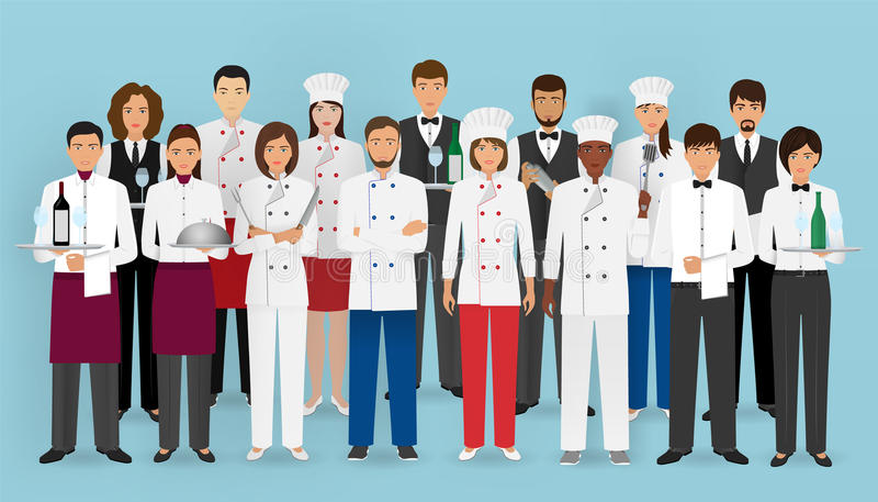 Restaurant team concept in uniform. Group of catering service characters: chef, cook, waiters and barman. vector illustration