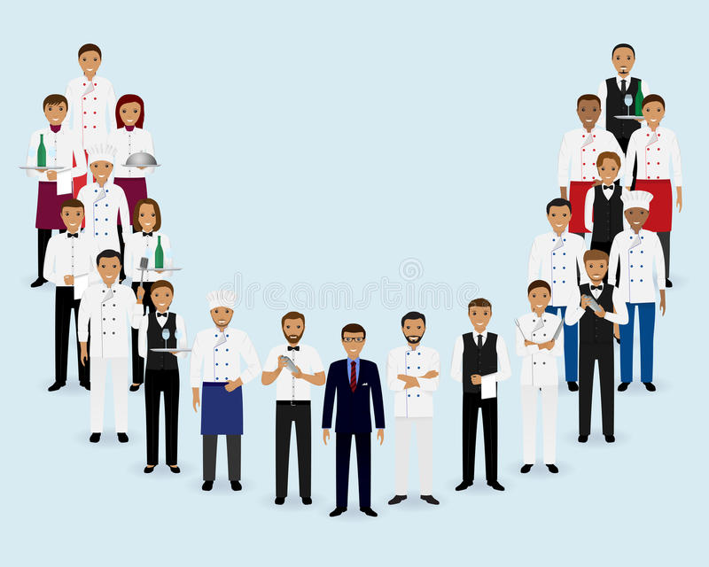 Restaurant team. Group of manager chef waiters bartenders standing together. stock illustration