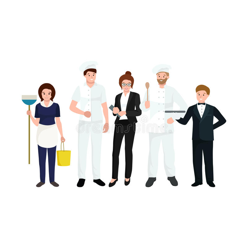 Restaurant team, man cooking chef, manager, waiter, cleaning woman. vector illustration
