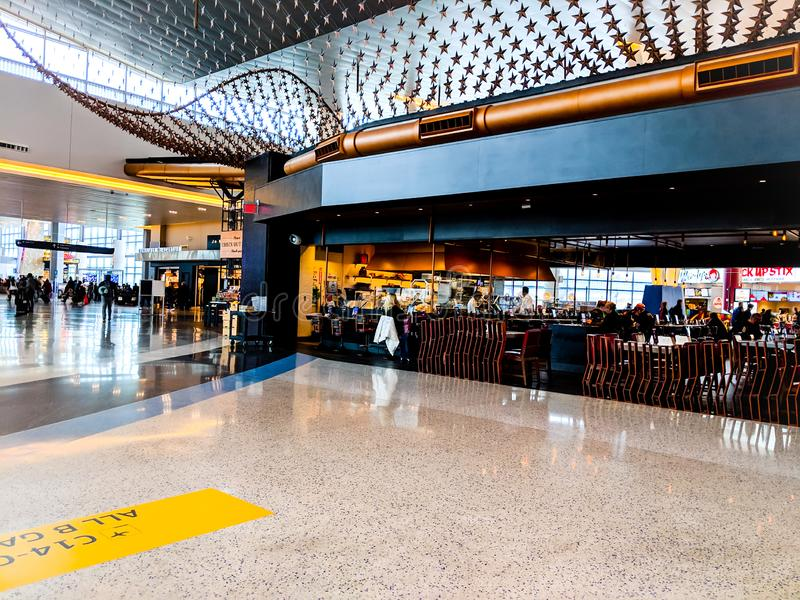 HOUSTON, TX - JANUARY 31, 2019 - Restaurant in Terminal at George Bush Intercontinental Airport stock images
