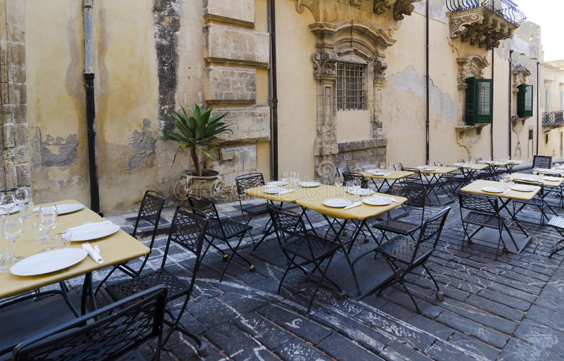 Download Restaurant Terrace in Noto stock image. Image of plant - 27191769