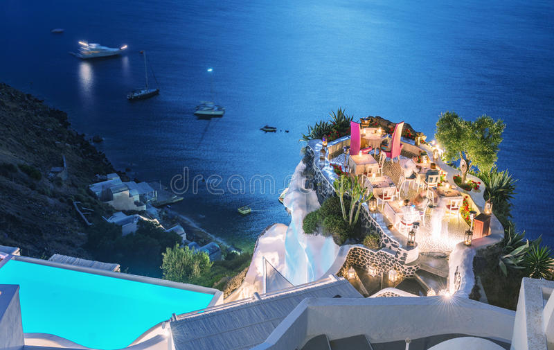Restaurant terrace over the ocean at night. Luxury and holiday c stock image