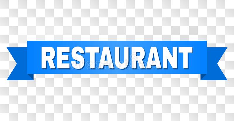 Blue Stripe with RESTAURANT Caption. RESTAURANT text on a ribbon. Designed with white caption and blue stripe. Vector banner with RESTAURANT tag on a transparent royalty free illustration