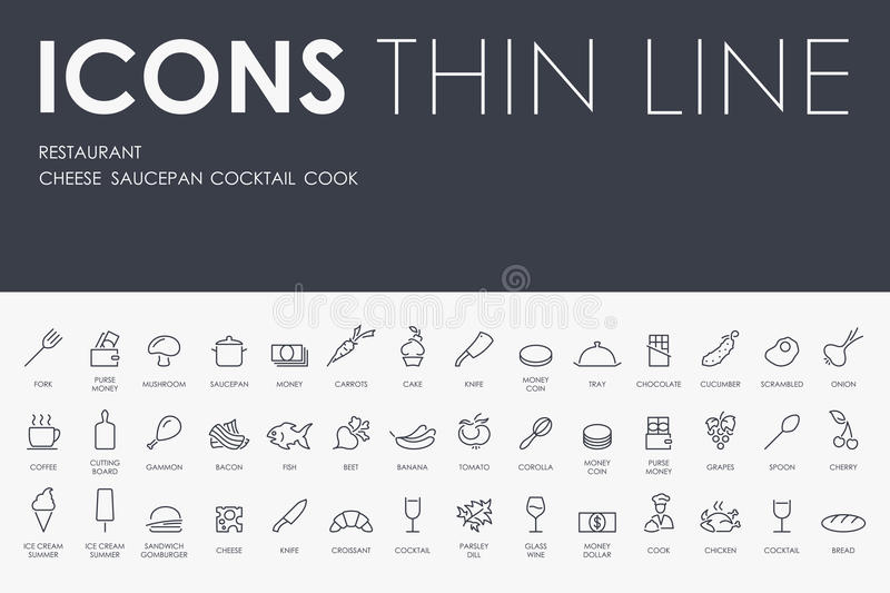 Restaurant Thin Line Icons royalty free illustration