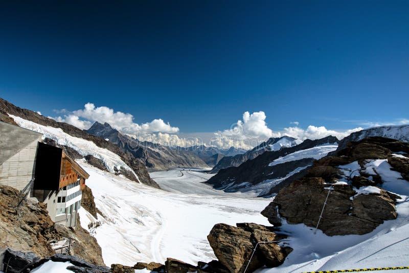 Restaurant at the top of Jungfraujoch, Switzerland stock photo