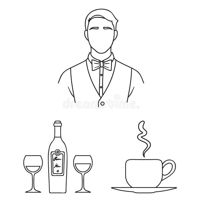 Restaurant und Bar umreißen Ikonen in der Satzsammlung für Design Vergnügen, Lebensmittel und Alkohol vector Netz des Symbols auf vektor abbildung