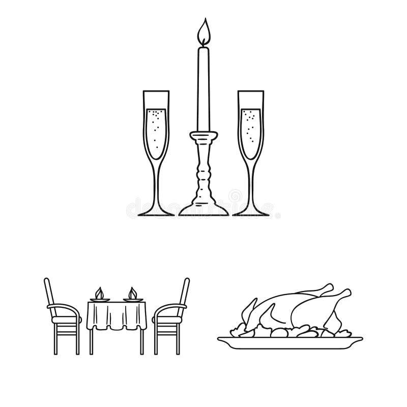 Restaurant und Bar umreißen Ikonen in der Satzsammlung für Design Vergnügen, Lebensmittel und Alkohol vector Netz des Symbols auf lizenzfreie abbildung