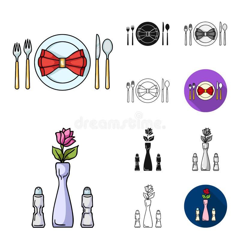 Restaurant- und Barkarikatur, Schwarzes, flach, einfarbig, Entwurfsikonen in der Satzsammlung für Design Vergnügen, Lebensmittel  stock abbildung