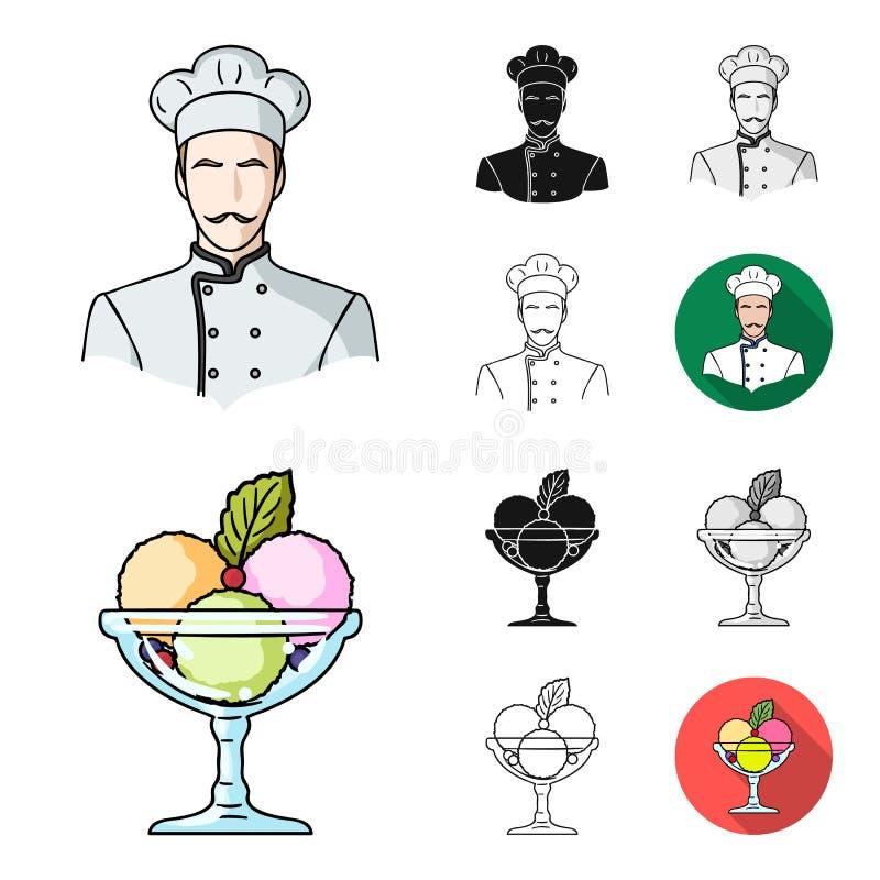 Restaurant- und Barkarikatur, Schwarzes, flach, einfarbig, Entwurfsikonen in der Satzsammlung für Design Vergnügen, Lebensmittel  lizenzfreie abbildung