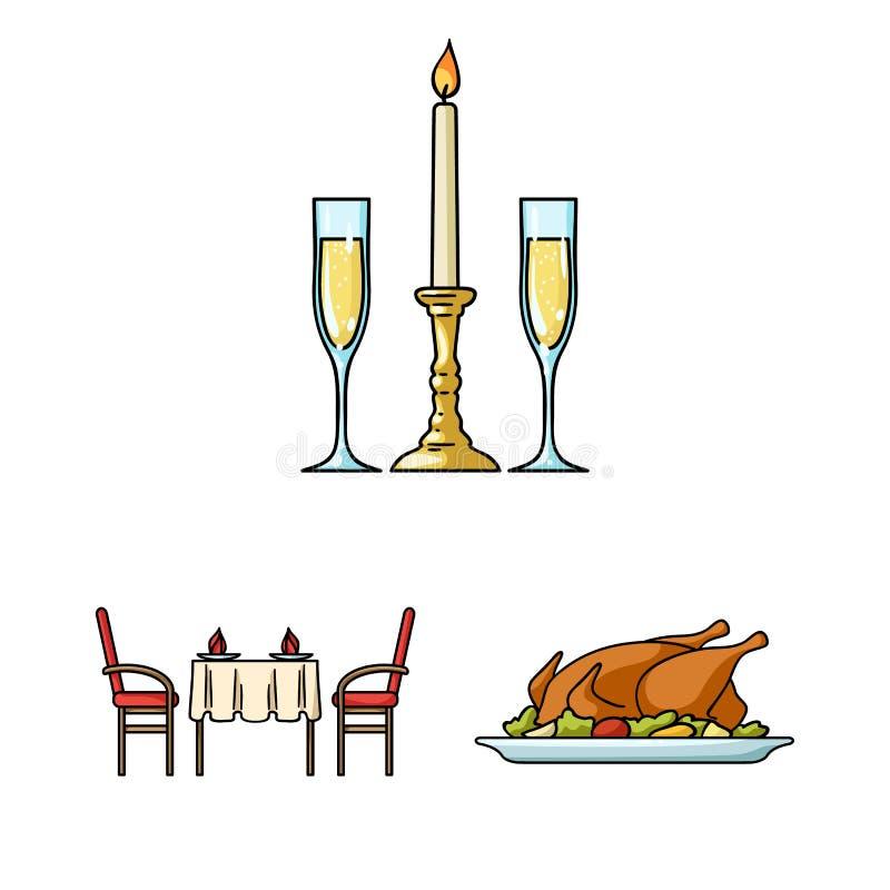 Restaurant- und Barkarikaturikonen in der Satzsammlung für Design Vergnügen, Lebensmittel und Alkohol vector Netz des Symbols auf lizenzfreie abbildung