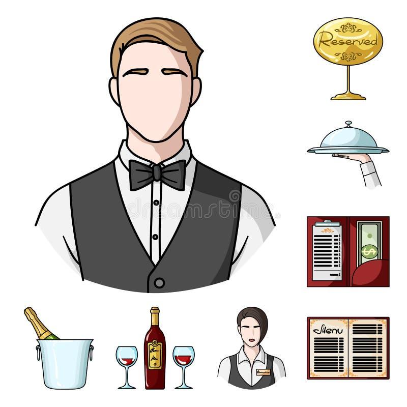 Restaurant- und Barkarikaturikonen in der Satzsammlung für Design Vergnügen, Lebensmittel und Alkohol vector Netz des Symbols auf stock abbildung