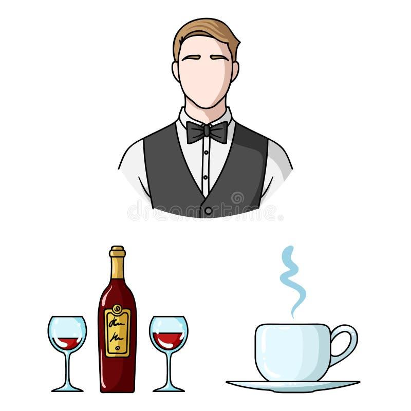 Restaurant- und Barkarikaturikonen in der Satzsammlung für Design Vergnügen, Lebensmittel und Alkohol vector Netz des Symbols auf vektor abbildung